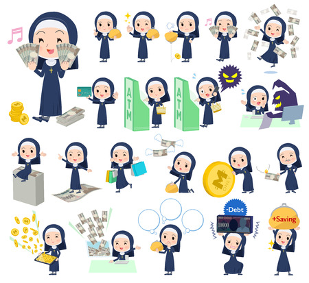 A set of Nun women with concerning money and economy.There are also actions on success and failure.It's vector art so it's easy to edit.