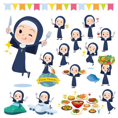 A set of Nun women on food events.There are actions that have a fork and a spoon and are having fun.It's vector art so it's easy to edit.