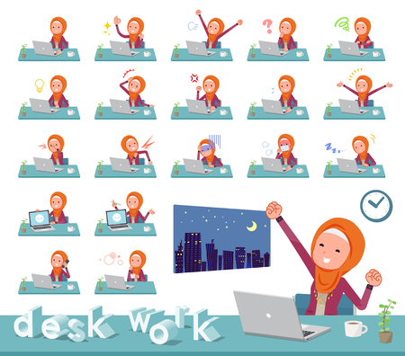 A set of women wearing hijab on desk work.There are various actions such as feelings and fatigue.Its vector art so its easy to edit. Illustration