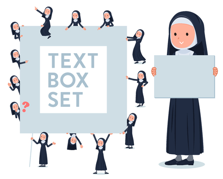 A set of Nun women with a message board.Since each is divided, you can move it freely.It's vector art so it's easy to edit.