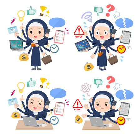 A set of Nun women who perform multitasking in the office.There are things to do smoothly and a pattern that is in a panic.It's vector art so it's easy to edit.
