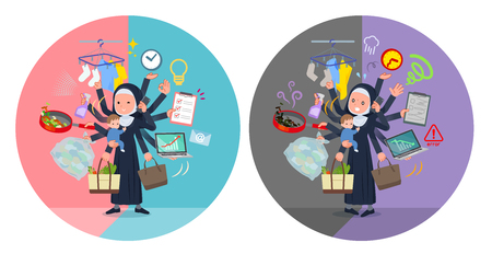 A set of Nun women who perform multitasking in offices and private.There are things to do smoothly and a pattern that is in a panic.It's vector art so it's easy to edit.