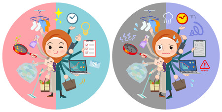 A set of women wearing hijab who perform multitasking in offices and private.There are things to do smoothly and a pattern that is in a panic.It's vector art so it's easy to edit. Vektorové ilustrace