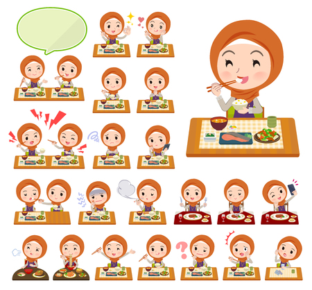 A set of women wearing hijab about meals.Japanese and Chinese cuisine, Western style dishes and so on.It's vector art so it's easy to edit.