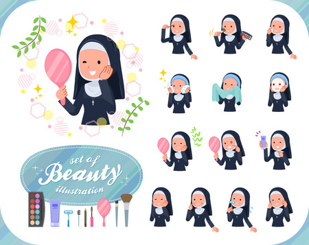 A set of Nun women on beauty.There are various actions such as skin care and makeup.It's vector art so it's easy to edit.