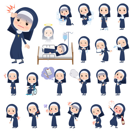 A set of Nun women with injury and illness.There are actions that express dependence and death.It's vector art so it's easy to edit.