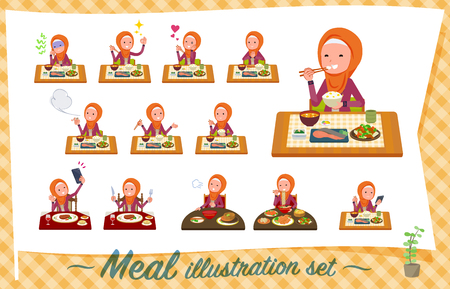 A set of women wearing hijab about meals.Japanese and Chinese cuisine, Western style dishes and so on.Its vector art so its easy to edit.  イラスト・ベクター素材