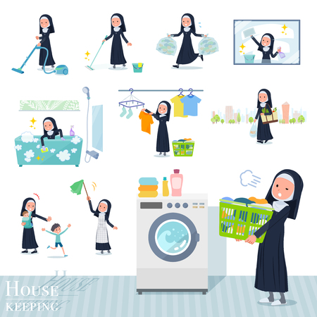 A set of Nun women related to housekeeping such as cleaning and laundry.There are various actions such as child rearing.Its vector art so its easy to edit.