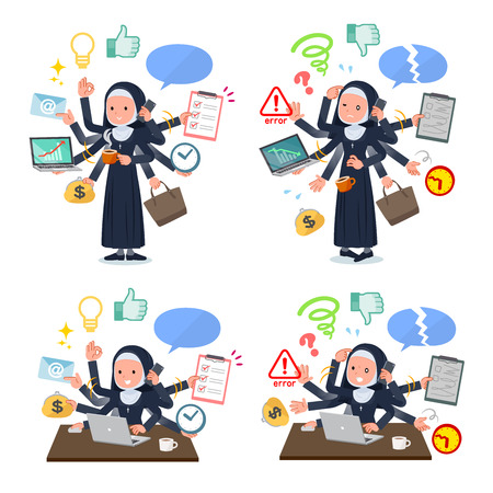 A set of Nun women who perform multitasking in the office.There are things to do smoothly and a pattern that is in a panic.It's vector art so it's easy to edit. Illustration