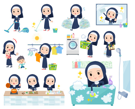 A set of Nun women related to housekeeping such as cleaning and laundry.There are various actions such as cooking and child rearing.It's vector art so it's easy to edit.