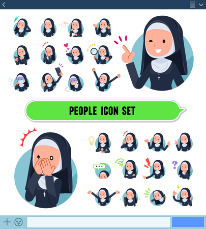 A set of Nun women with expresses various emotions on the SNS screen.There are variations of emotions such as joy and sadness.It's vector art so it's easy to edit.