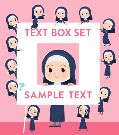 A set of Nun women with a message board.Since each is divided, you can move it freely.Its vector art so its easy to edit. Иллюстрация