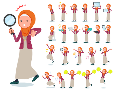 A set of women wearing hijab with digital equipment such as smartphones.There are actions that express emotions.It's vector art so it's easy to edit.
