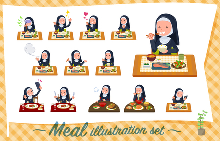 A set of Nun women about meals.Japanese and Chinese cuisine, Western style dishes and so on.It's vector art so it's easy to edit.