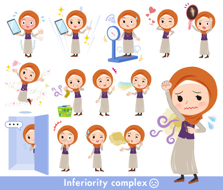 A set of women wearing hijab on inferiority complex.There are actions suffering from smell and appearance.It's vector art so it's easy to edit. Illustration