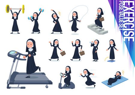 A set of Nun women on exercise and sports.There are various actions to move the body healthy.It's vector art so it's easy to edit. Foto de archivo - 112646986