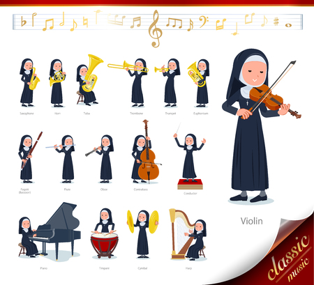 A set of Nun women on classical music performances.There are actions to play various instruments such as string instruments and wind instruments.Its vector art so its easy to edit. Illustration
