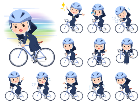 A set of Nun women on a road bike.There is an action that is enjoying.It's vector art so it's easy to edit.