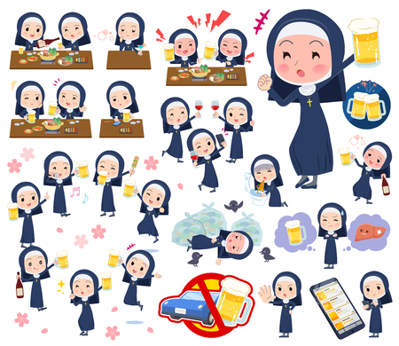 A set of Nun women related to alcohol.There is a lively appearance and action that expresses failure about alcohol.It's vector art so it's easy to edit.