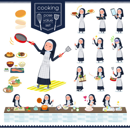 A set of Nun women about cooking.There are actions that are cooking in various ways in the kitchen.It's vector art so it's easy to edit.