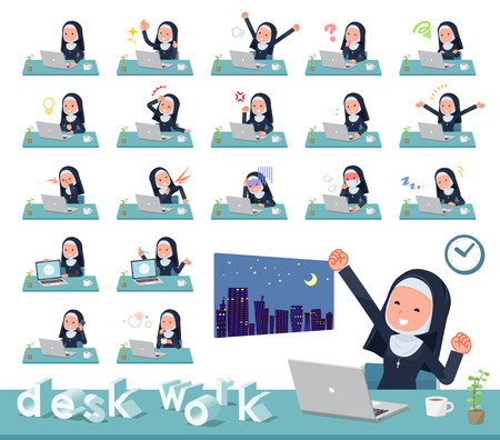 A set of Nun women on desk work.There are various actions such as feelings and fatigue.It's vector art so it's easy to edit.  イラスト・ベクター素材