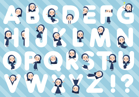 A set of Nun women designed with alphabet.Characters with fun expressions pose various poses.It's vector art so it's easy to edit.