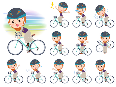 A set of women wearing hijab on a road bike.There is an action that is enjoying.It's vector art so it's easy to edit.