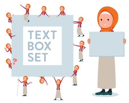 A set of women wearing hijab with a message board.Since each is divided, you can move it freely.It's vector art so it's easy to edit. Vektorové ilustrace