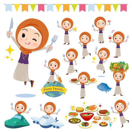 A set of women wearing hijab on food events.There are actions that have a fork and a spoon and are having fun.It's vector art so it's easy to edit.