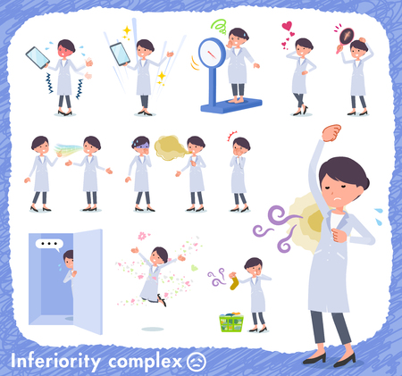 A set of scientist women on inferiority complex.There are actions suffering from smell and appearance.It's vector art so it's easy to edit.
