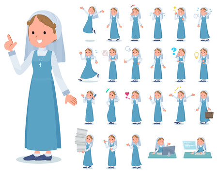 A set of Nun women with who express various emotions.There are actions related to workplaces and personal computers.It's vector art so it's easy to edit.