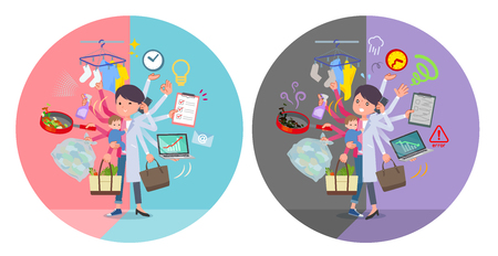 A set of scientist women who perform multitasking in offices and private.There are things to do smoothly and a pattern that is in a panic.It's vector art so it's easy to edit.
