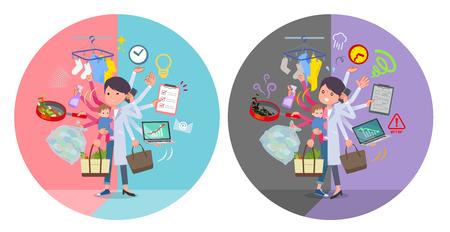 Eine Reihe von Wissenschaftlerinnen, die Multitasking in Büros und privat durchführen. Es gibt Dinge, die reibungslos erledigt werden müssen, und ein Muster, das in Panik gerät. Es handelt sich um Vektorgrafiken, die sich leicht bearbeiten lassen.