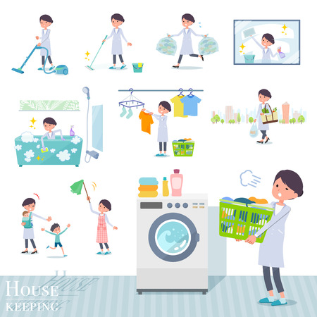 A set of scientist women related to housekeeping such as cleaning and laundry.There are various actions such as child rearing.It's vector art so it's easy to edit. Vektorgrafik