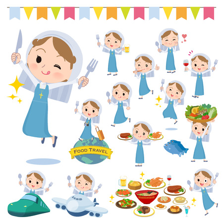 A set of Nun women on food events.There are actions that have a fork and a spoon and are having fun.Its vector art so its easy to edit.