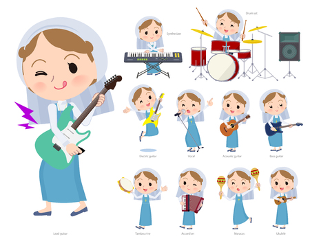 A set of Nun women playing rock 'n' roll and pop music.There are also various instruments such as ukulele and tambourine.It's vector art so it's easy to edit.