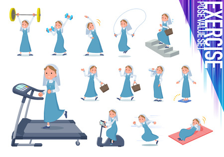 A set of Nun women on exercise and sports.There are various actions to move the body healthy.It's vector art so it's easy to edit.
