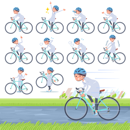 A set of scientist women on a road bike.There is an action that is enjoying.It's vector art so it's easy to edit.