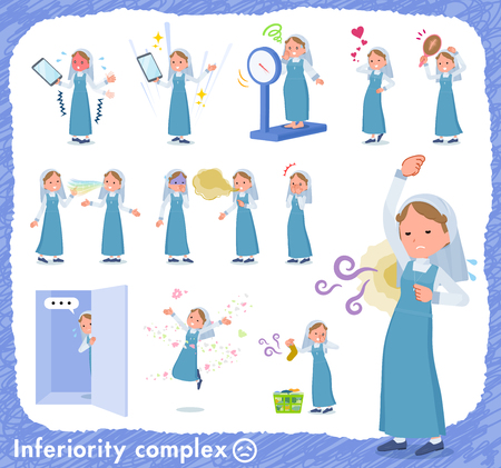 A set of Nun women on inferiority complex.There are actions suffering from smell and appearance.It's vector art so it's easy to edit.