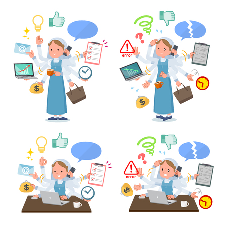 A set of Nun women who perform multitasking in the office.There are things to do smoothly and a pattern that is in a panic.It's vector art so it's easy to edit. Иллюстрация