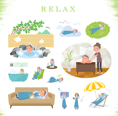 A set of Nun women about relaxing.There are actions such as vacation and stress relief.Its vector art so its easy to edit.