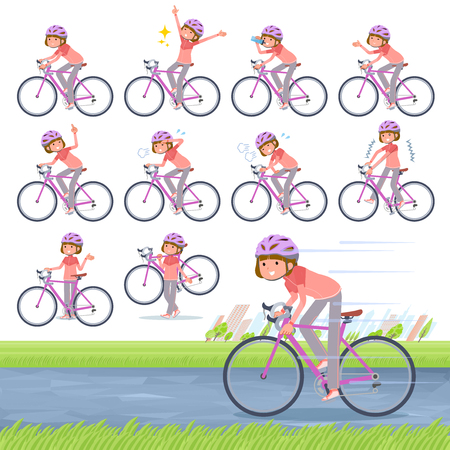A set of women in sportswear on a road bike.There is an action that is enjoying.It's vector art so it's easy to edit. 일러스트