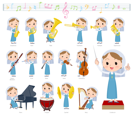 A set of Nun women on classical music performances.There are actions to play various instruments such as string instruments and wind instruments.It's vector art so it's easy to edit. Archivio Fotografico - 112647204
