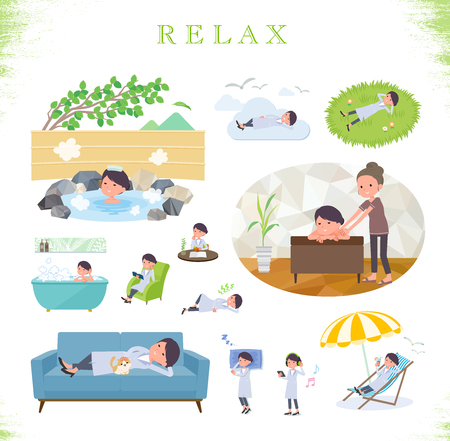 A set of scientist women about relaxing.There are actions such as vacation and stress relief.It's vector art so it's easy to edit. Illustration