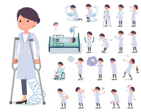 A set of scientist women with injury and illness.There are actions that express dependence and death.It's vector art so it's easy to edit.