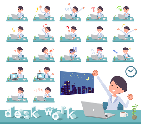 A set of scientist women on desk work.There are various actions such as feelings and fatigue.Its vector art so its easy to edit.
