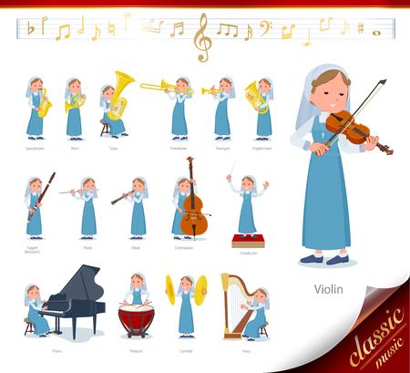 Un insieme di suore su spettacoli di musica classica. Ci sono azioni per suonare vari strumenti come strumenti a corda e strumenti a fiato. È arte vettoriale, quindi è facile da modificare.