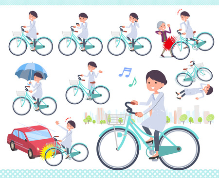 A set of scientist women riding a city cycle.There are actions on manners and troubles.It's vector art so it's easy to edit.