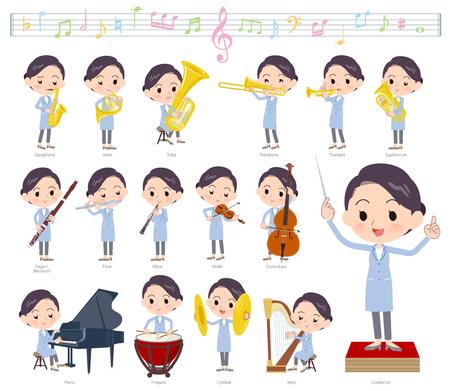 Eine Reihe von Wissenschaftlerinnen bei klassischen Musikaufführungen. Es gibt Aktionen zum Spielen verschiedener Instrumente wie Saiteninstrumente und Blasinstrumente. Es handelt sich um Vektorgrafiken, die leicht zu bearbeiten sind.
