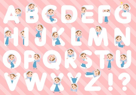 A set of Nun women designed with alphabet.Characters with fun expressions pose various poses.Its vector art so its easy to edit.